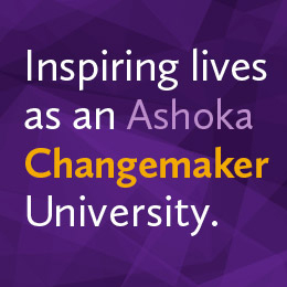 Text: Inspiring lives as an Ashoka Changemaker University