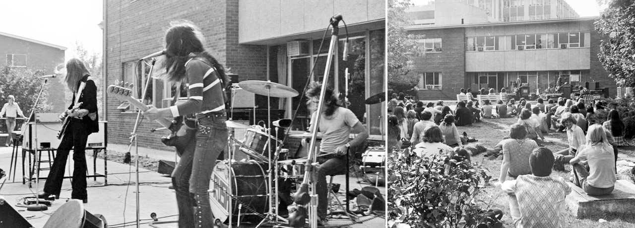 rush performs to a small crowd outside at Waterloo campus