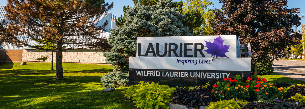 laurier landmark sign and surrounding landscaping