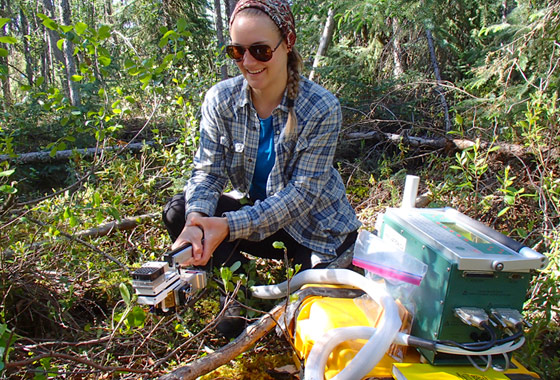 Jenna Rabley is using an instrument to measure plant photosynthetic and respiration rates.